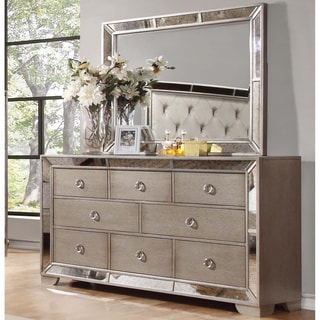 Best Master Furniture Silver Bronze Dresser and Mirror