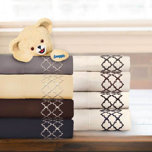 Tile Embroidered 4-piece Microfiber Sheet Set with Deep Pockets by Snuggle
