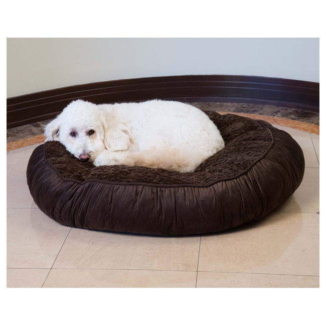 Faux Fur Tufted Round Pet Bed (1), Brown, Size Medium