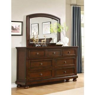 Best Master Furniture Dark Cherry 7-Drawer Dresser and Mirror