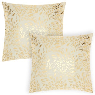 Mina Victory Luminescence Metallic Splash Ivory/Gold 18-inch Throw Pillow (Set of 2) by Nourison