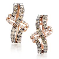 LeVian Women's 14K Rose Gold Multi-Diamond Crossed Hoop Earrings