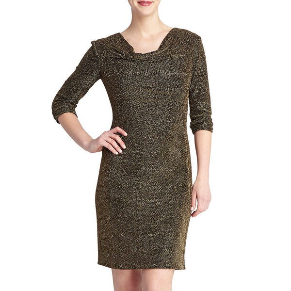 6593903666 Tahari by ASL Zack Gold Sparkle Dress