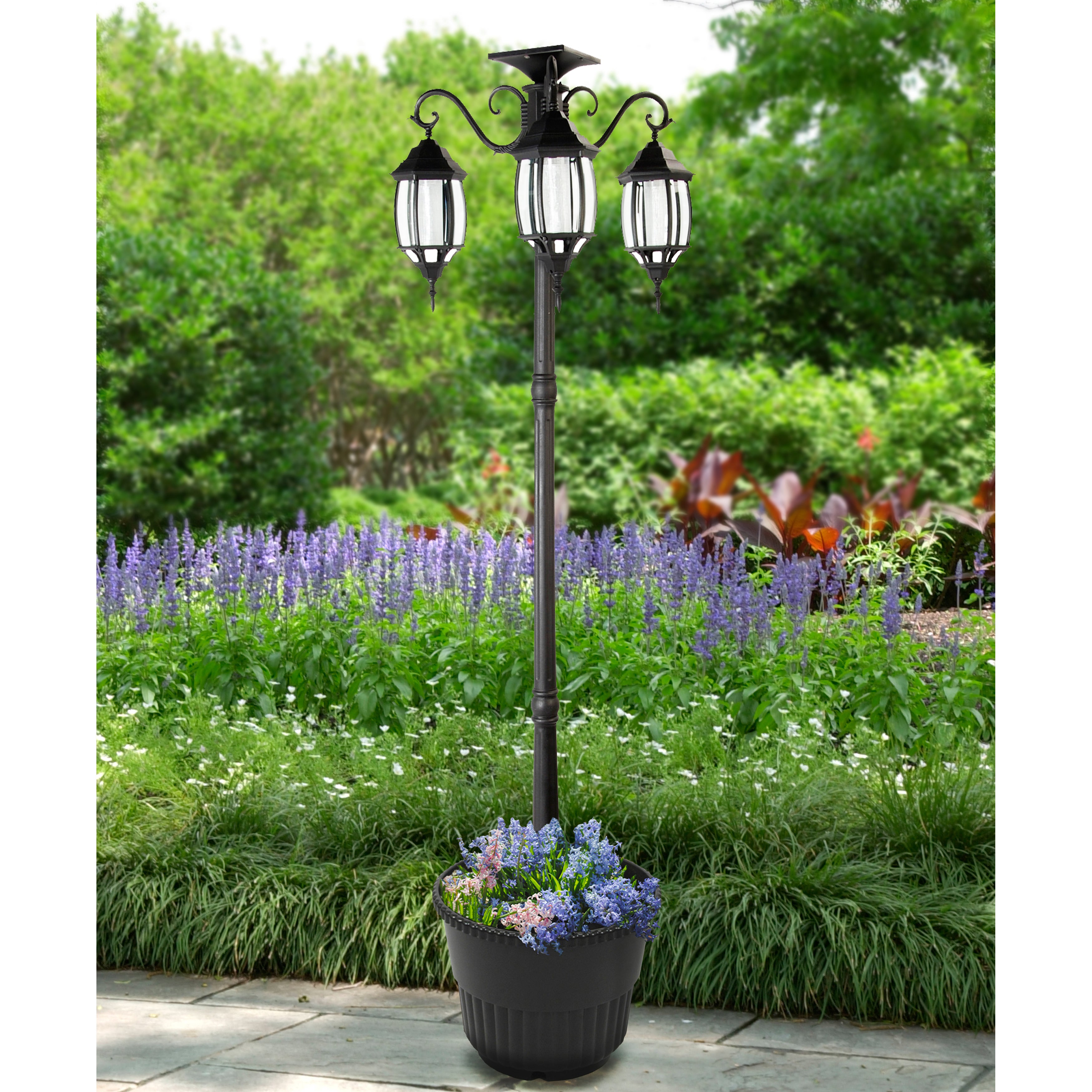 Global Madison Solar Lamp Post and Planter (302013), Blac...