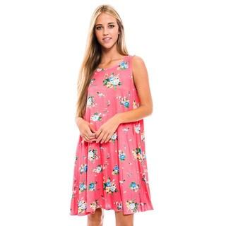 Women's Pink Floral Sleeveless Dress