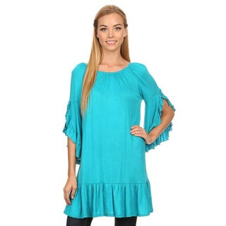 Women's Solid-colored Rayon and Spandex Ruffled Top