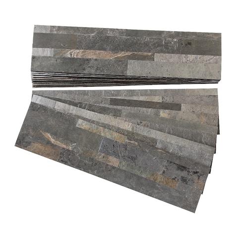 Aspect Iron Slate Peel and Stick Stone Backsplash 15 sq. ft. Kit
