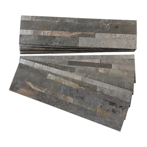 Aspect Iron Slate Peel and Stick Stone Backsplash 15 sq. ft. Kit ...