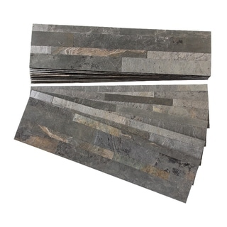 Aspect Iron Slate Peel and Stick Stone Backsplash