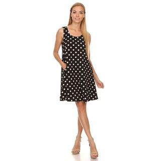 Women's Polka Dot Polyester and Spandex Sleeveless Dress
