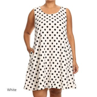 Women's Black/White Polka-dot Plus-size Sleeveless Dress