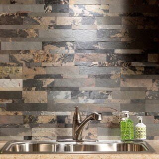 Aspect Medley Slate Peel and Stick Stone Backsplash 15 sq. ft. Kit