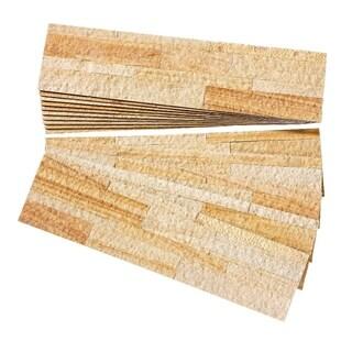 Aspect Golden Sandstone Peel and Stick Stone Backsplash 15 sq. ft. Kit