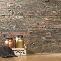 "Aspect 6x24"" Weathered Quartz Peel and Stick Stone Backsplash Kit (16 panels/15 sqft.)"
