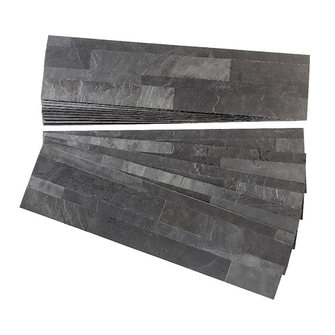 Aspect Charcoal Slate Peel and Stick Stone Backsplash 15 sq. ft. Kit