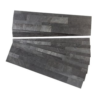 Aspect Charcoal Slate Peel and Stick Stone Backsplash 15 sq. ft. Kit