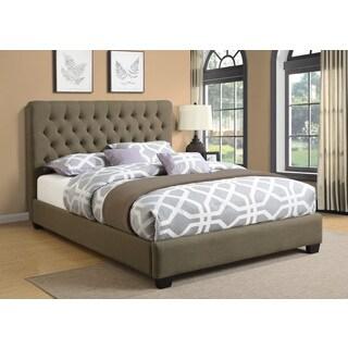 Tufted Grey Linen Upholstered Bed