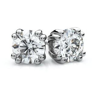 IGI Certified Platinum 3/4ct TDW Double Prong Round Diamond Stud Earrings (F-G, VS)