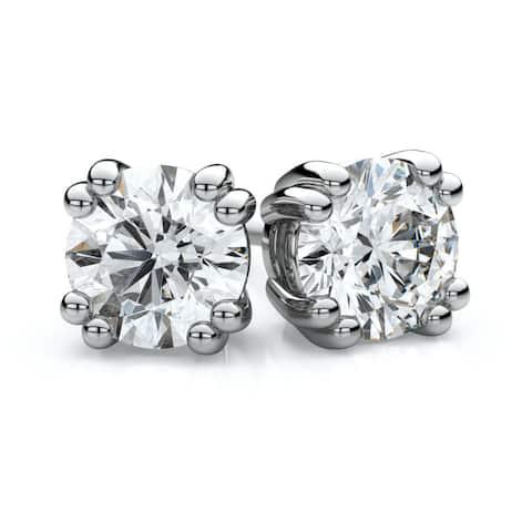 IGI Certified 18k White Gold Double Prong Round Diamond Stud Earrings 2ctw , H-I ,VS