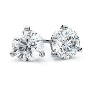 IGI Certified 18k White Gold 3/4ct TDW 3-prong Martini Round Diamond Stud Earrings (F-G, VS)