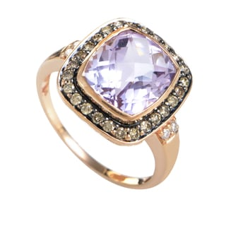 LeVian Women's 14K Rose Gold Multi-Diamond & Amethyst Ring