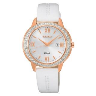 Seiko Women's Silvertone/White Leather Solar Crystal Watch