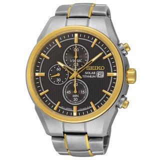Seiko Men's Grey Chronograph Dial Two-tone Titanium Bracelet Solar Watch