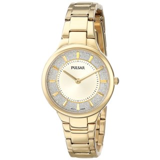 Pulsar Women's PM2132 Gold-Tone Stainless-steel Glittery Dial Bracelet Watch
