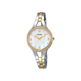 Pulsar Women's PH8120 Two-tone Bracelet Mother-of-pearl Dial Analog Watch|https://ak1.ostkcdn.com/images/products/12376893/P19200743.jpg?impolicy=medium