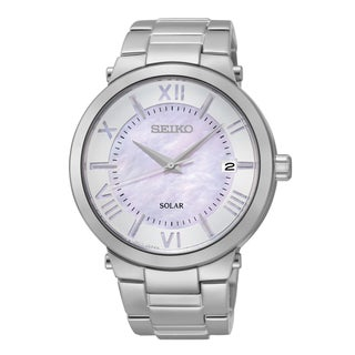 Seiko Silvertone Stainless Steel Mother of Pearl Dial Solar Women's Watch