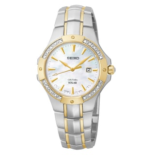 Seiko Women's Solar Mother-of-pearl Dial Two-tone Bracelet Watch