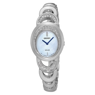 Seiko Women's Silver Stainless Steel Crystal Solar Watch with Mother-of-pearl Dial