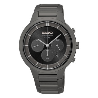 Seiko Men's Grey Stainless Steel Chronograph Dial Solar Watch