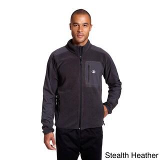 Champion Men's Textured Fleece Mock-neck Jacket with 4-way Stretch Overlay