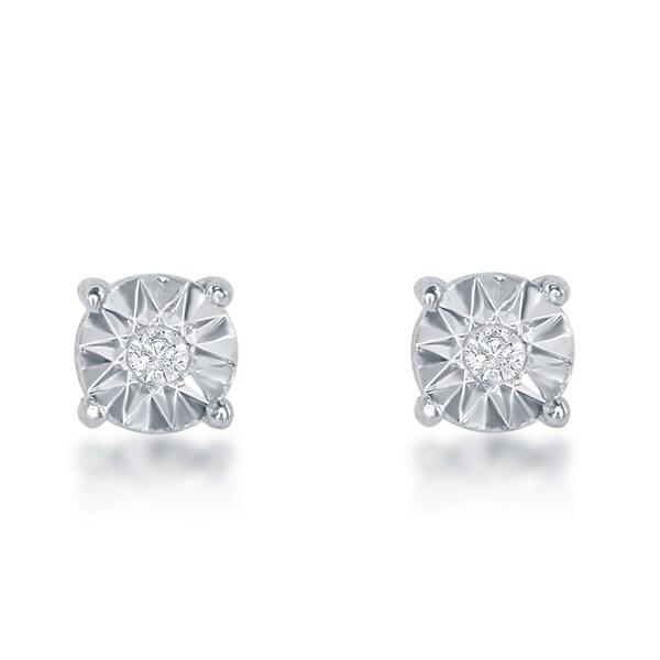La Preciosa Sterling Silver Illusion-cut Diamond Stud 3mm Earrings