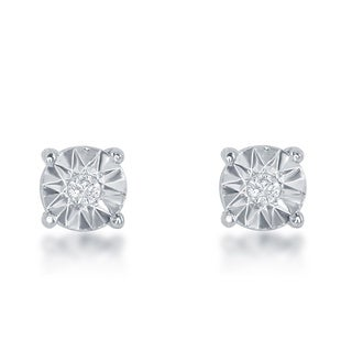 La Preciosa Sterling Silver Illusion-cut Diamond Stud 3mm Earrings