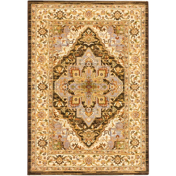 ECARPETGALLERY Machine Woven Shahrzad Kerman Cream, Dark Brown Polypropylene Rug - 7'10 x 11'2