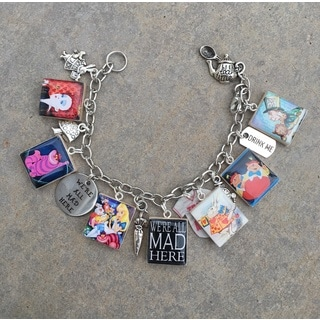 'We're All Mad Here' Scrabble Tile Charm Bracelet