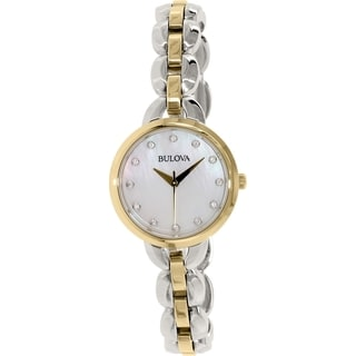 Bulova Women's 98L208 Two Tone Stainless Steel Crystal Adorned Watch with a Mother of Pearl Dial