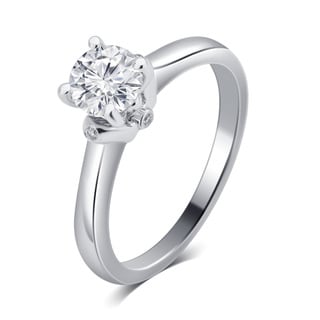 Divina 14K White Gold 3/4ct TDW Diamond Engagement Ring.