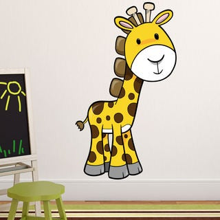 Giraffe Fabric Wall Decal, 4' Tall 100% Woven Fabric Adhesive Decal
