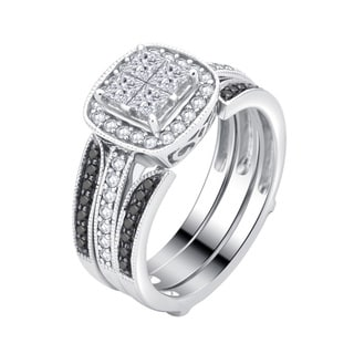 Divina 14K White Gold 1.0ct TDW White and Black diamond Quad Engagement Ring with wrap .(H-I, I1-I2).