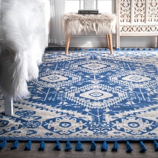 nuLOOM Flatweave Tribal Diamond Dragon Cotton Tassel Blue Rug (2' x 3')