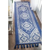 The Curated Nomad Santiago Dragon Cotton Flatweave Blue Runner Rug (2'6 x 10')