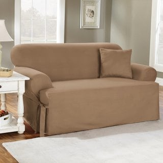 Sure Fit Cotton Classic T-cushion Loveseat Slipcover in Linen (As Is Item)