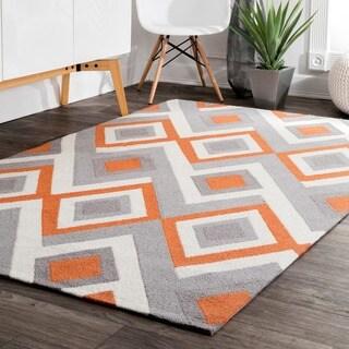 nuLOOM Handmade Geometric Triangle Orange Rug (4' x 6')