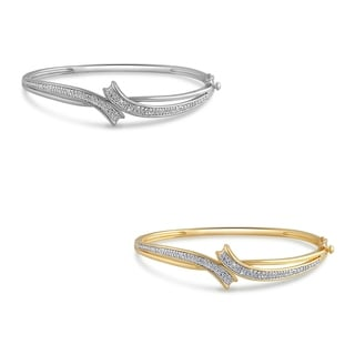 Divina Goldtone Diamond Accent Fashion Bangle (I-J, I2-I3)