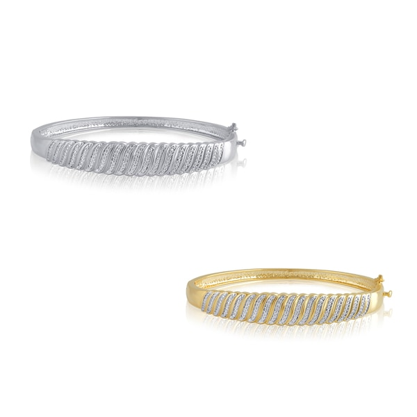 Divina Goldtone or Silver Overlay Diamond Accent Fashion Bangle