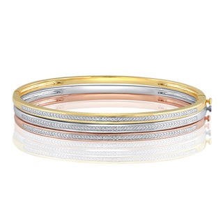 Divina Goldtone or Silver Overlay Diamond Accent Fashion Bangle. .