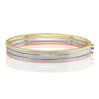 Divina Goldtone or Silver Overlay Diamond Accent Fashion Bangle. .